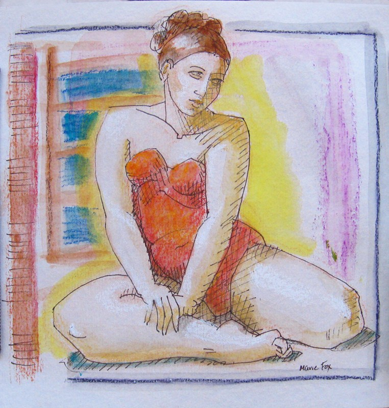 """Red Bathing Suit, figurative art, woman watercolor, figure painting"" original fine art by Marie Fox"