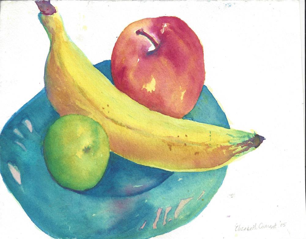 """Apple, banana and lime"" original fine art by Elizabeth Current"