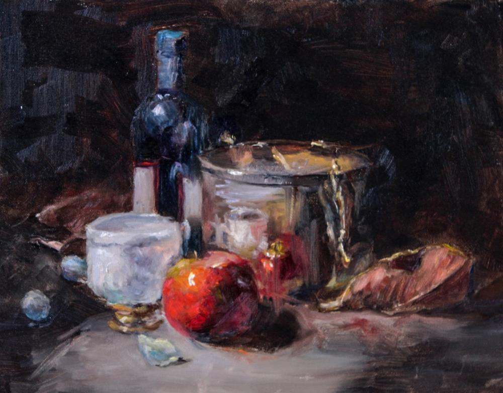 """Silver Cachepot"" original fine art by Lina Ferrara"