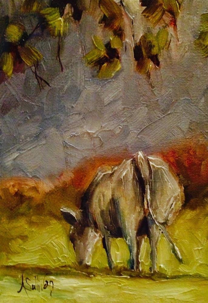 """Grazing Before Winter cow painting by Alabama Artist Angela Sullivan"" original fine art by Angela Sullivan"