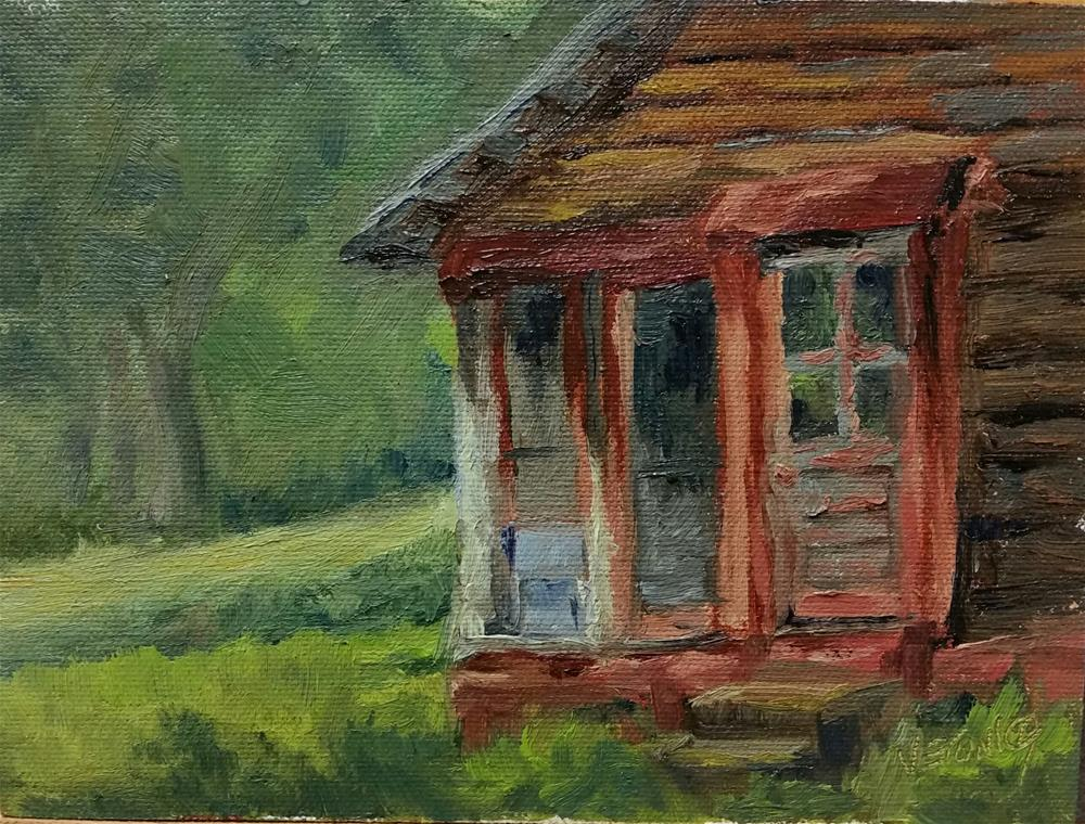 """The Red Porch-en plein air"" original fine art by Veronica Brown"