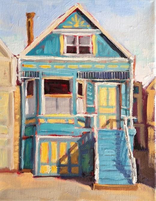 """""""Little Blue House"""" original fine art by Deborah Newman"""
