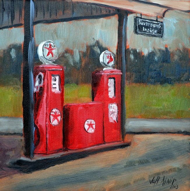 """Texaco Pumps"" original fine art by Jeff Atnip"