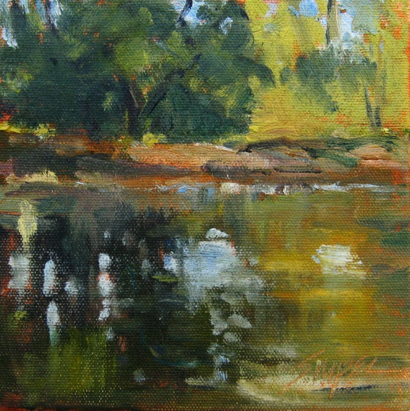 """Small Pond, Fairview, NC"" original fine art by Connie Snipes"