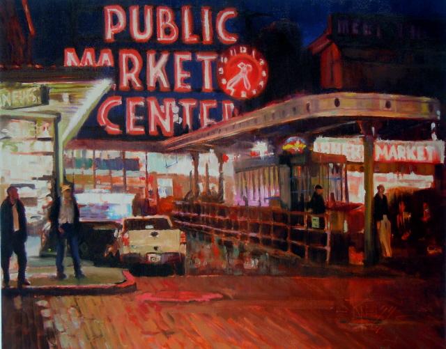 """""""Market Lights  Seattle city scenes, urban landscape 16x20 oil on canvas"""" original fine art by Robin Weiss"""