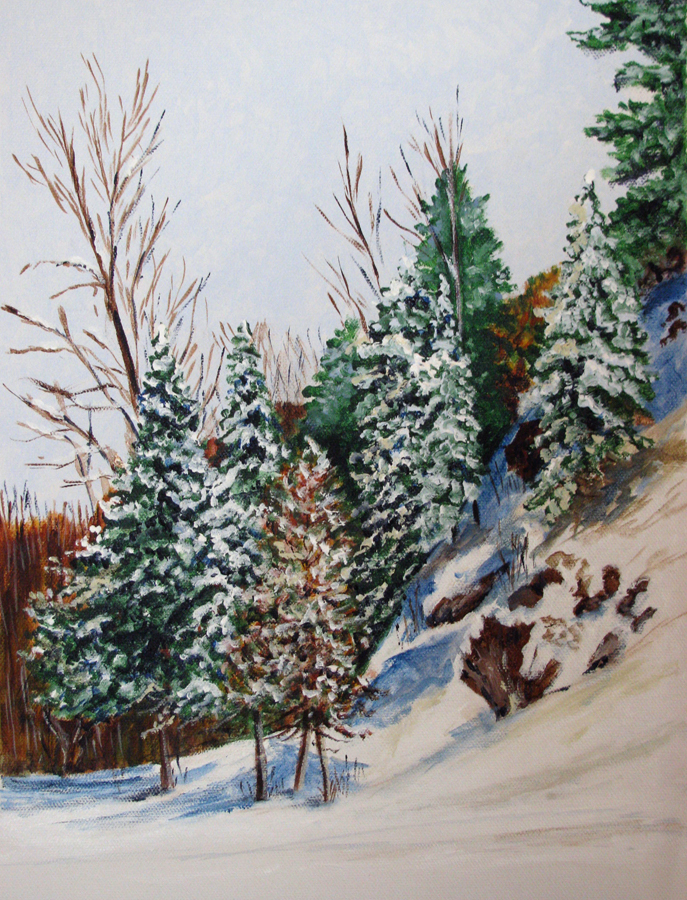 """Hillside Snow"" original fine art by Nan Johnson"