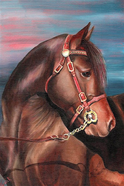 """Horse on Red"" original fine art by Karen Robinson"