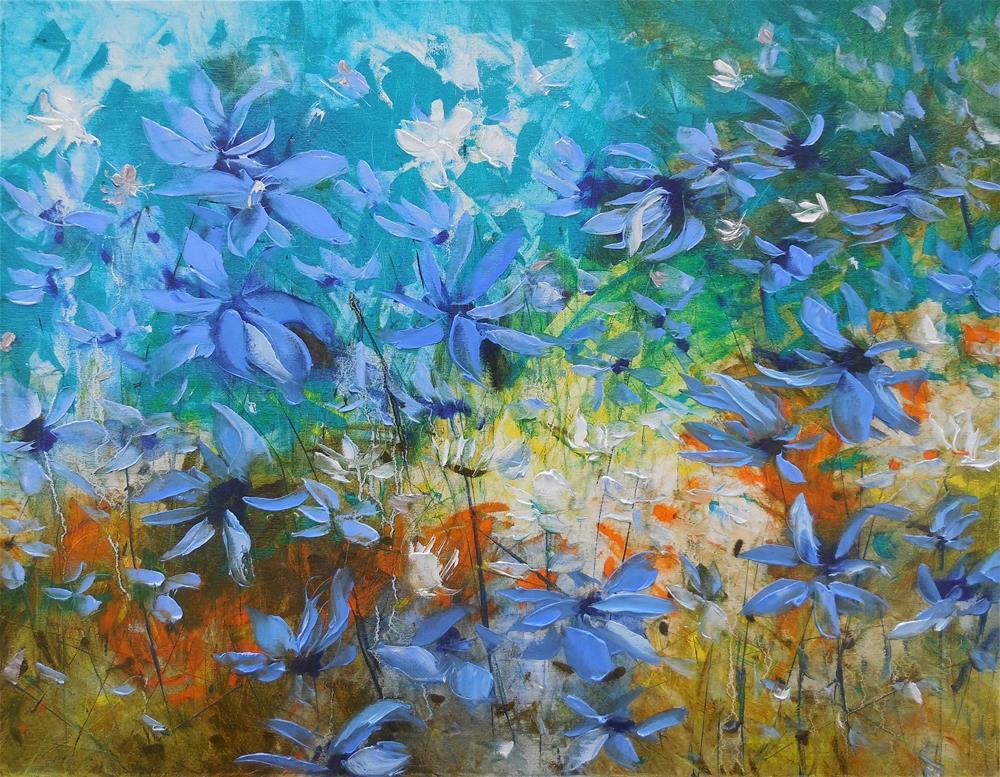 """""""Blue Meadow"""" original fine art by Elena Lunetskaya"""