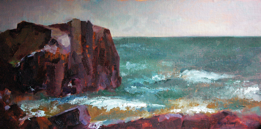 """Rocks on Lake Superior"" original fine art by Maryann Cleary"
