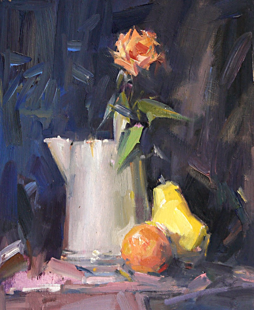 """Still Life with Orange"" original fine art by Mike Peterson"