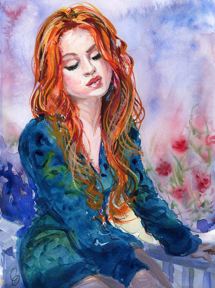 """""""Lovely Red Haired Lass"""" original fine art by Chris Ousley"""