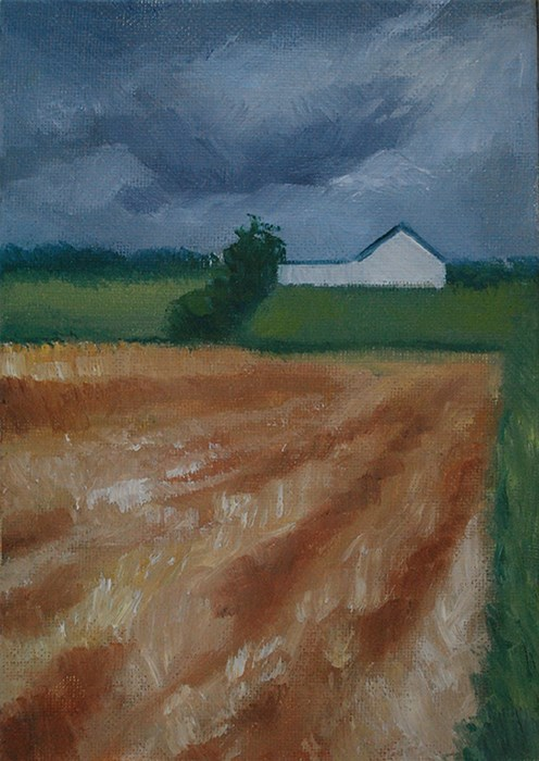 """House and Fields"" original fine art by J M Needham"