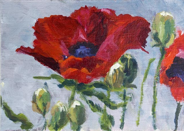"""KMD2268 Razzmatazz - (5x7, Red Poppy, acrylic painting, floral)"" original fine art by Kit Hevron Mahoney"