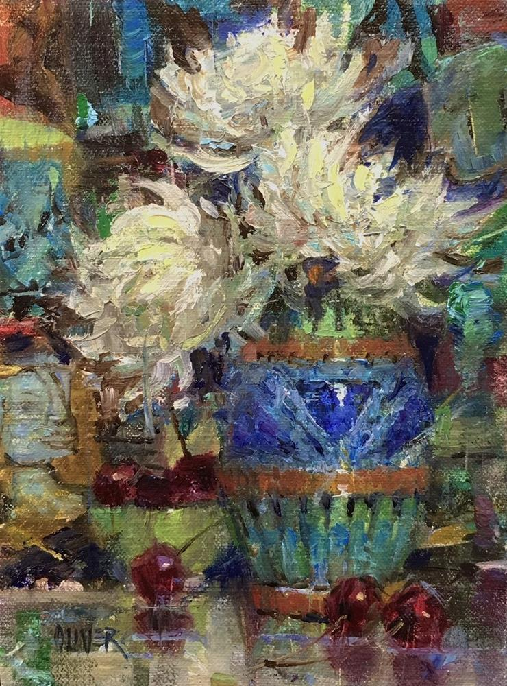 """Mums, Picasso & Cherries"" original fine art by Julie Ford Oliver"