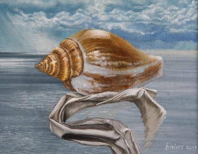 """Seashell 8 x 10 oil on panel still life"" original fine art by Paulo Jimenez"