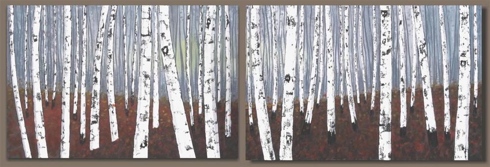"""Autumn Birch Woods"" original fine art by Sage Mountain"