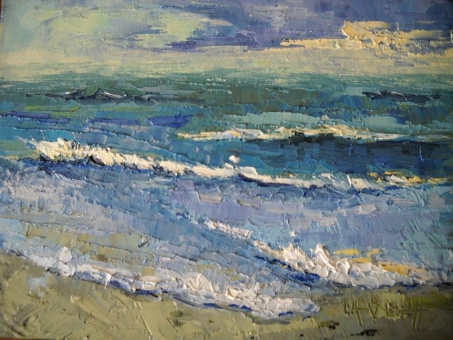 """Daily Painting, Beach Painting, Florida Surf by Carol Schiff, 6x8 Oil"" original fine art by Carol Schiff"
