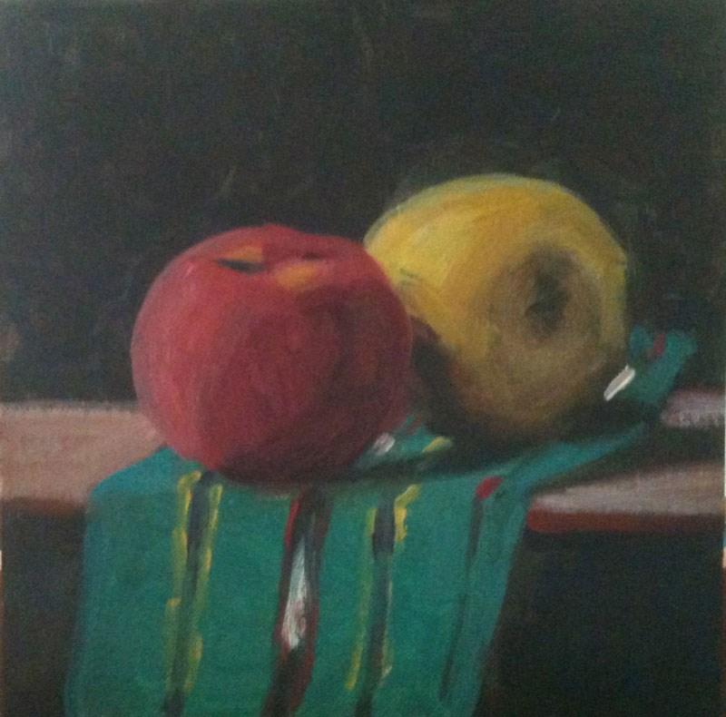 """""""Two Apples"""" original fine art by Megan Schembre"""