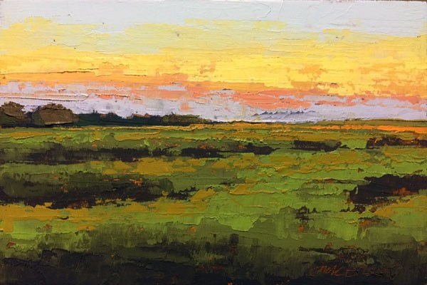 """""""Fall Sunset Over the Marsh"""" original fine art by Mary Gilkerson"""