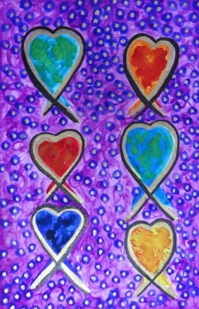 """6026 - Boys and Girls - Happy Heart III"" original fine art by Sea Dean"