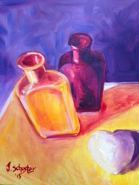 """""""complimentary bottles"""" original fine art by Juli Schuster"""