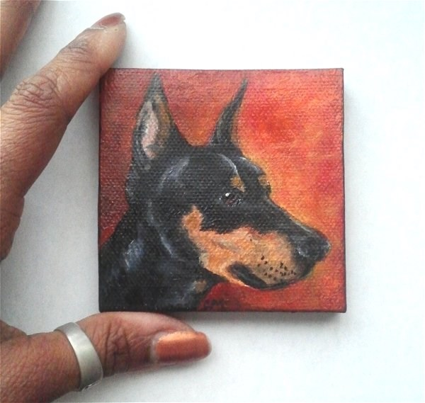 """Doberman Pincher Mini Painting"" original fine art by Camille Morgan"