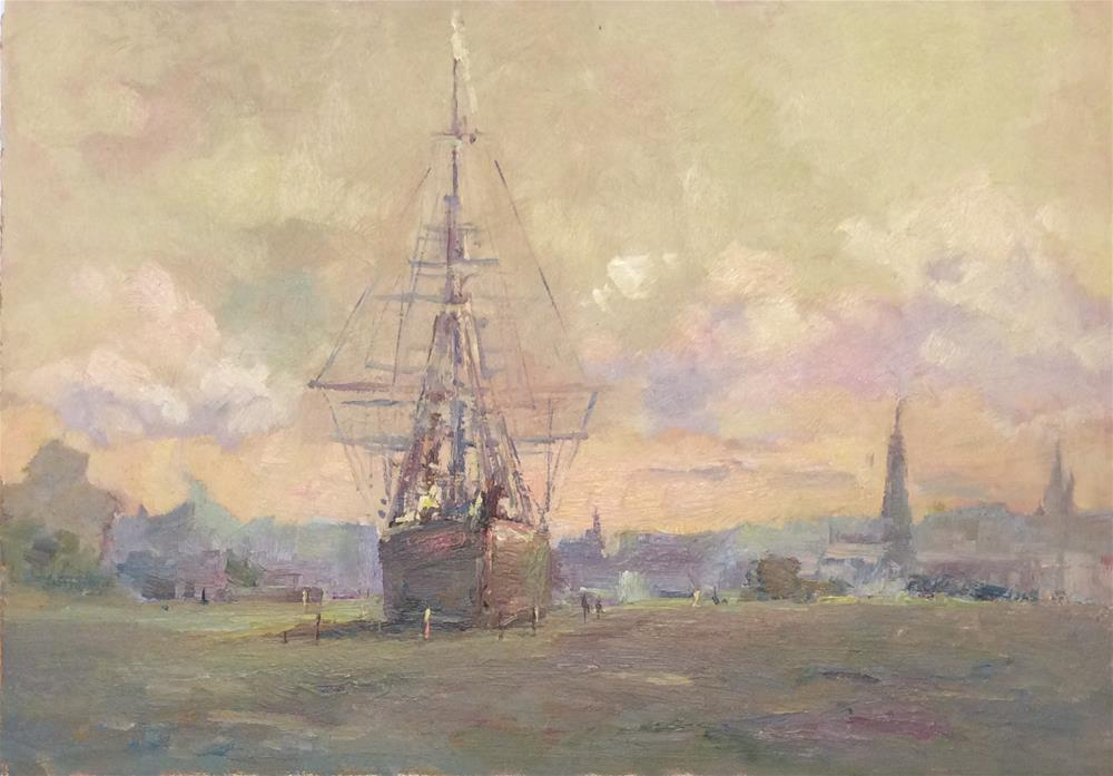 """""""The Cutty Sark at Greenwich"""" original fine art by John Shave"""