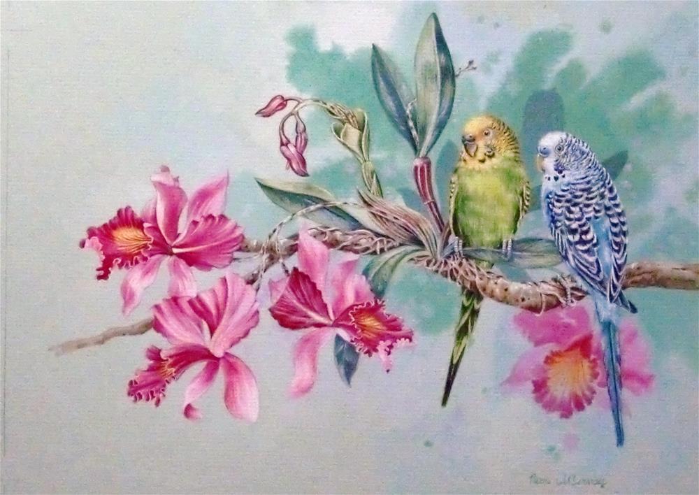 """Wild Parakeets"" original fine art by Jean Pierre DeBernay"