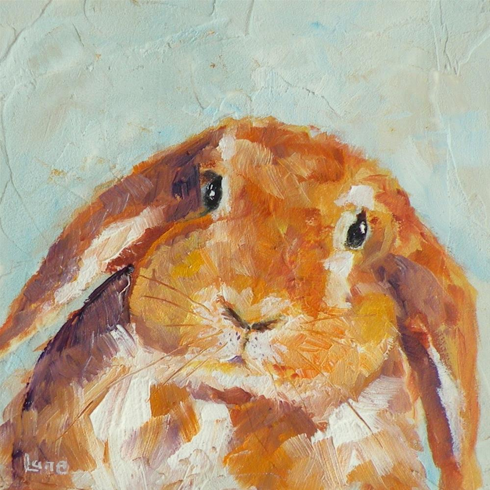 """CHUBBY BUNNY ORIGINAL OIL ON TEXTURED 4X4 PANEL FOR ETSY © SAUNDRA LANE GALLOWAY"" original fine art by Saundra Lane Galloway"