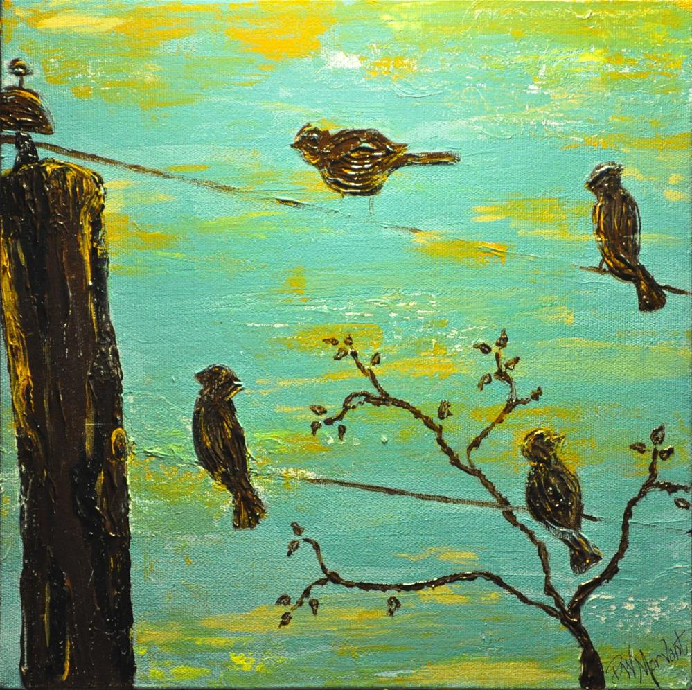 """Birds on a Wire"" original fine art by Peggy W Morvant"