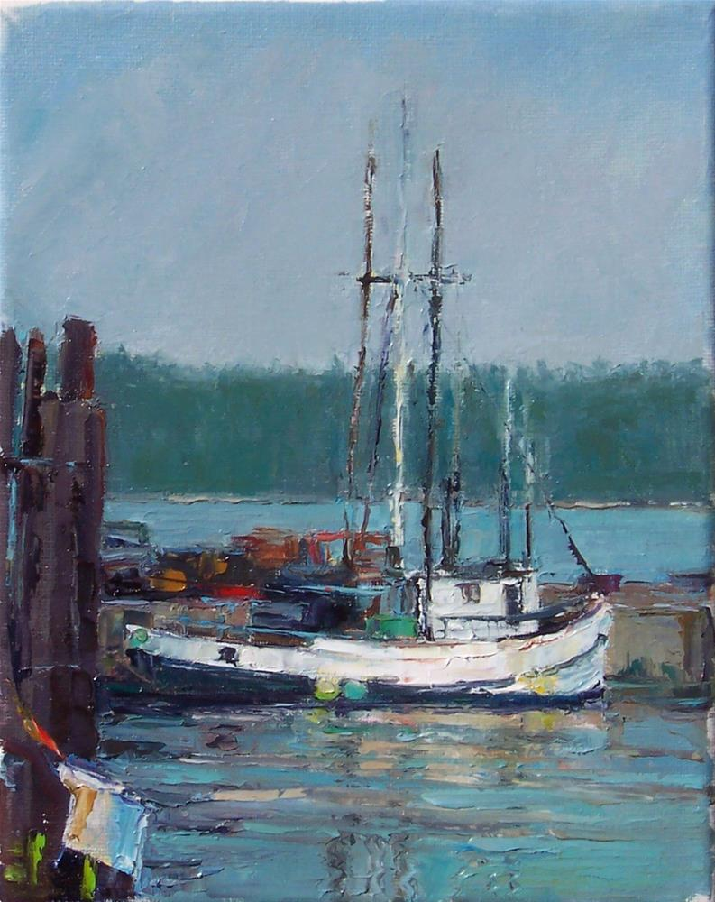 """Fidalgo Fishing Boat,seascape,oil on canvas,10x8,price$700"" original fine art by Joy Olney"