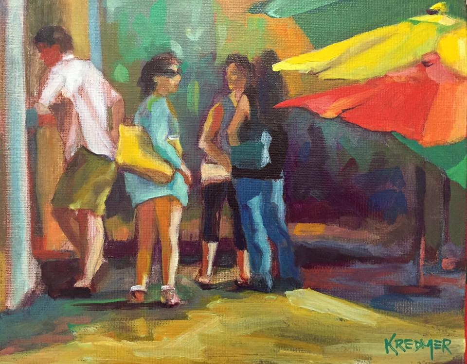 """Woman With the Yellow Purse"" original fine art by Kathleen Redmer"