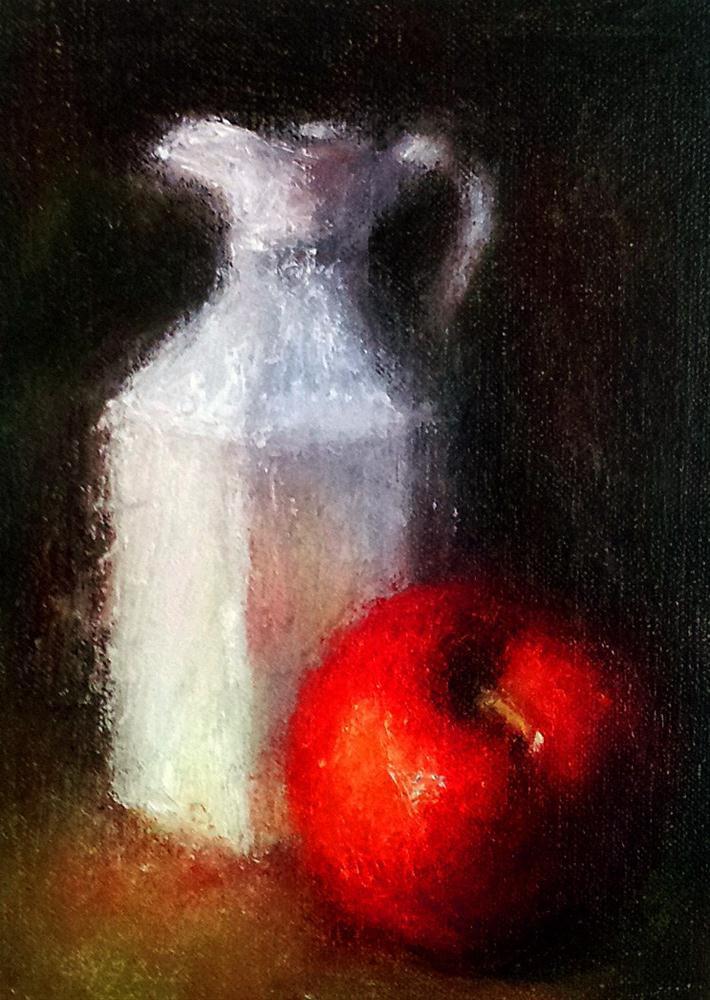 """Pitcher and Apple"" original fine art by Cindy Haase"