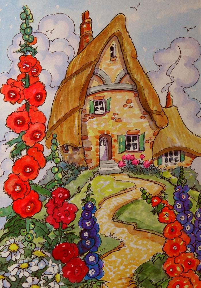 """""""Life on the Hill Storybook Cottage Series"""" original fine art by Alida Akers"""