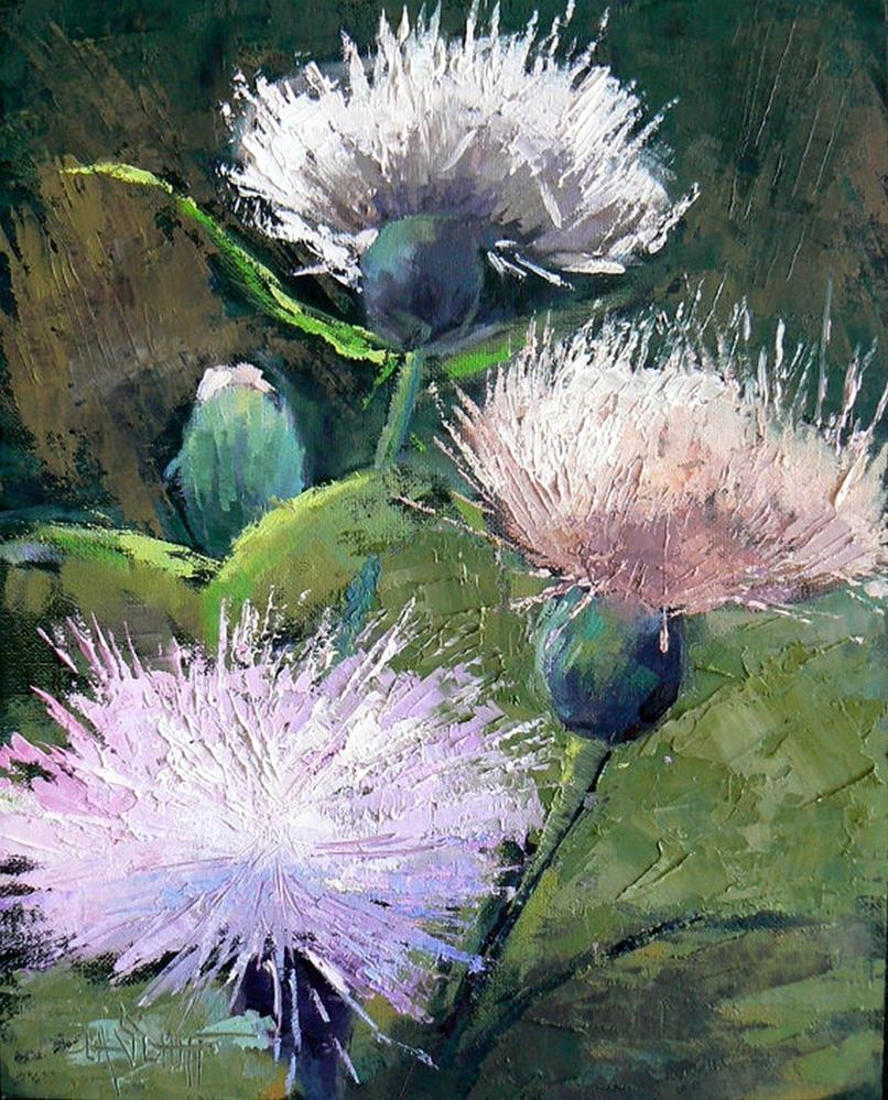 """A Thistle Day"" original fine art by Carol Schiff"