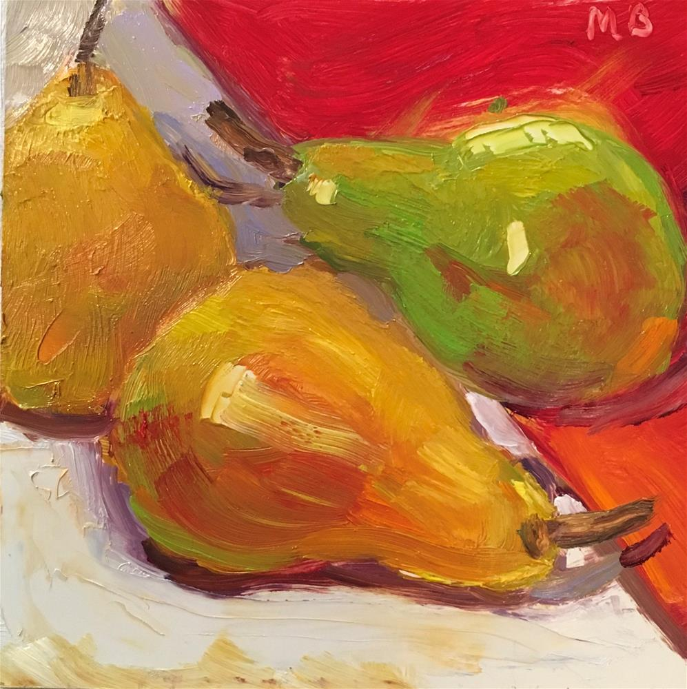 """Green and Yellow Pears"" original fine art by Marcia Bergtholdt"
