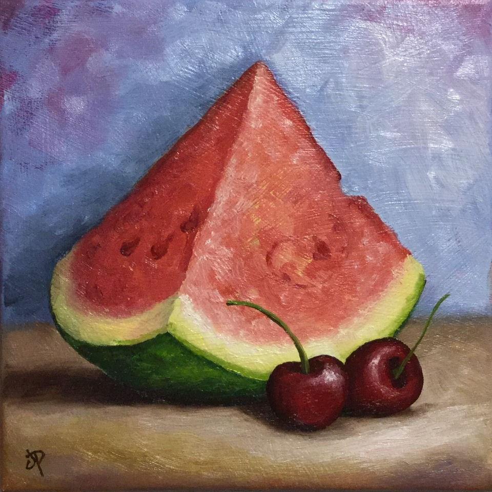 """""""Watermelon with cherries"""" original fine art by Jane Palmer"""