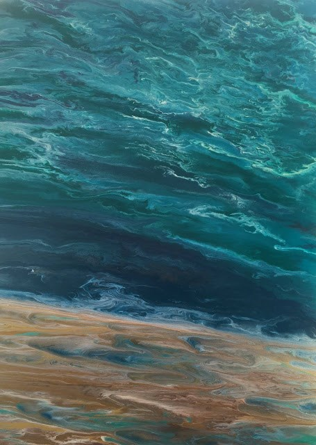 """Contemporary Abstract Seascape, Beach Painting, Fine Art, Coastal  Beautiful Storm Speaks by Inter"" original fine art by Kimberly Conrad"