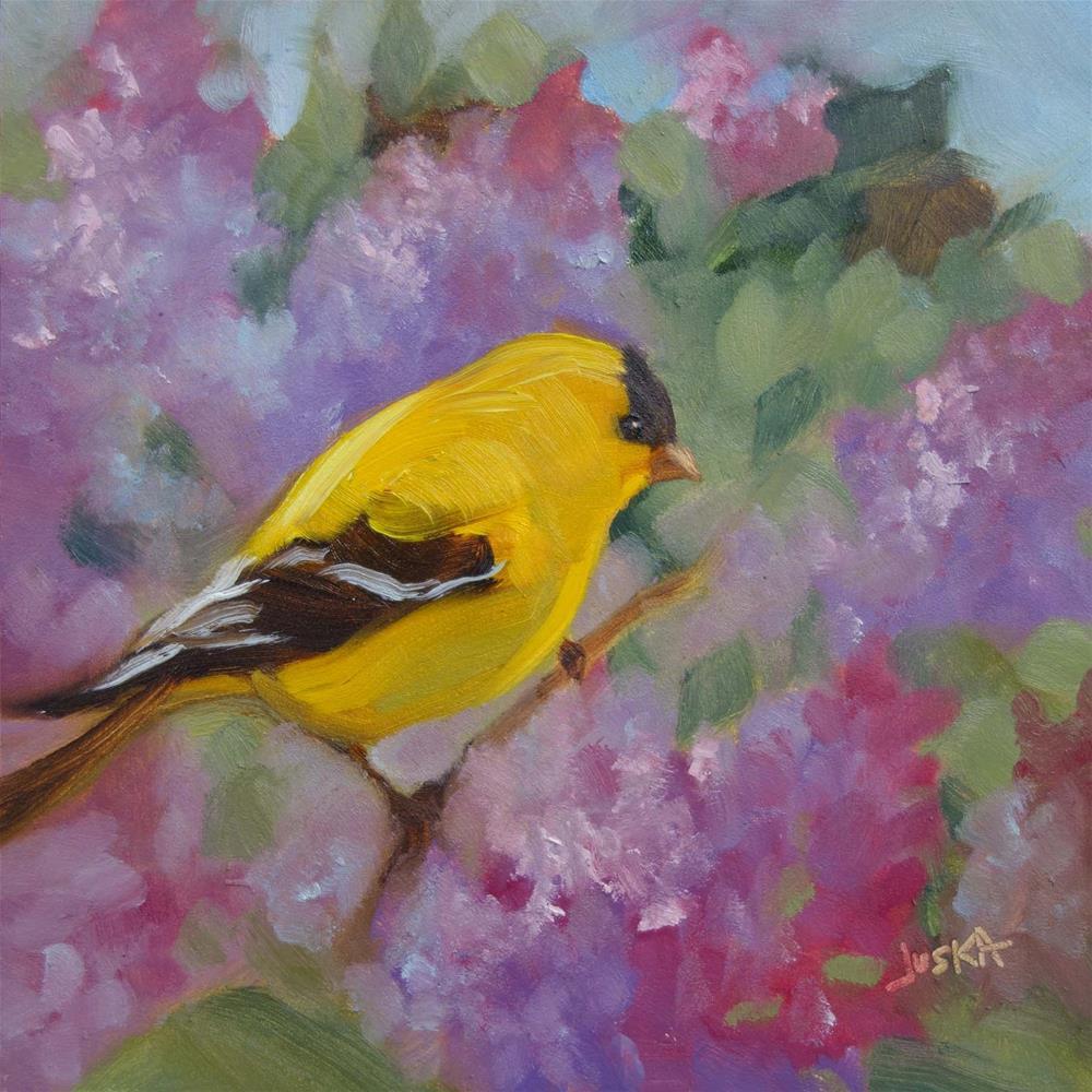 """Goldfinch & Lilacs"" original fine art by Elaine Juska Joseph"