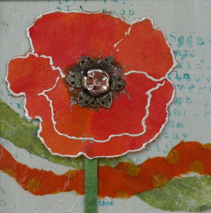 """PROUD TO BE ORANGE ORIGINAL PAPER CAST POPPY PAINTING © SAUNDRA LANE GALLOWAY"" original fine art by Saundra Lane Galloway"