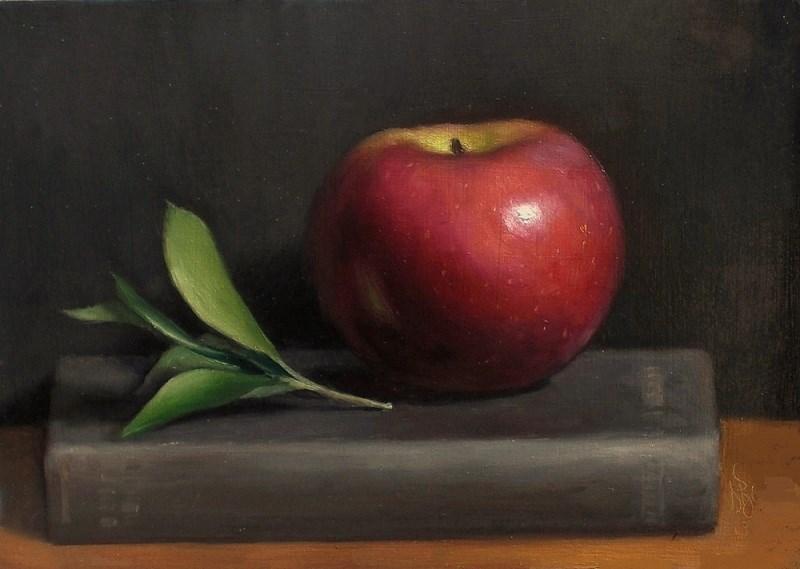 """Apple and Book"" original fine art by Debra Becks Cooper"
