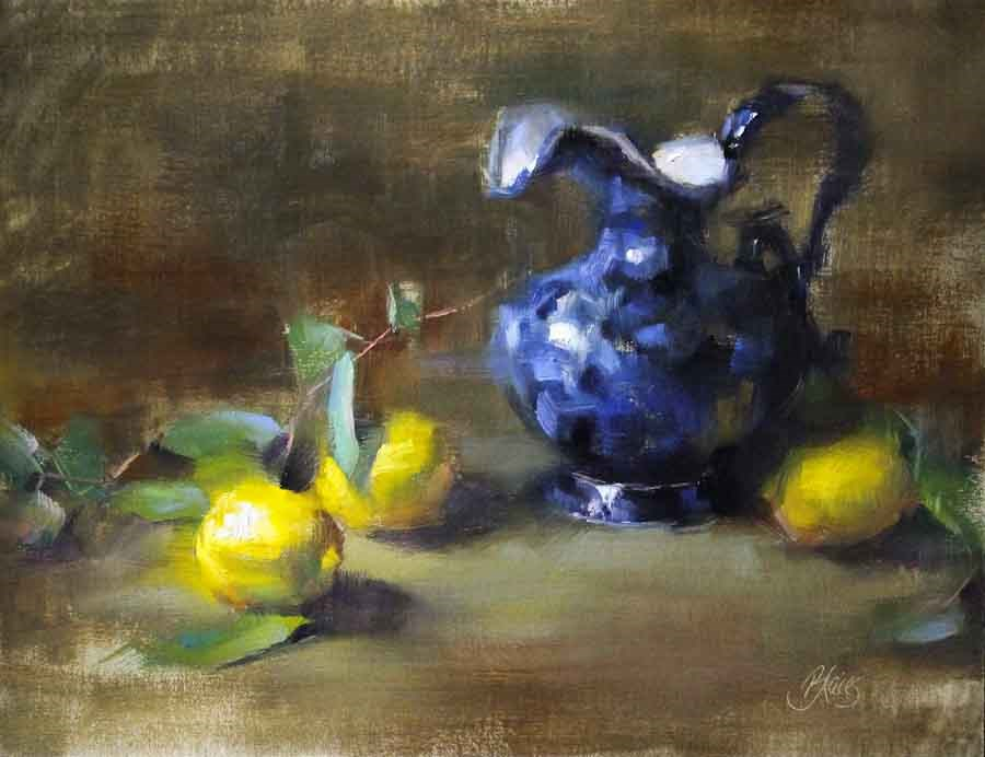 """Flow Blue and Lemons"" original fine art by Pamela Blaies"