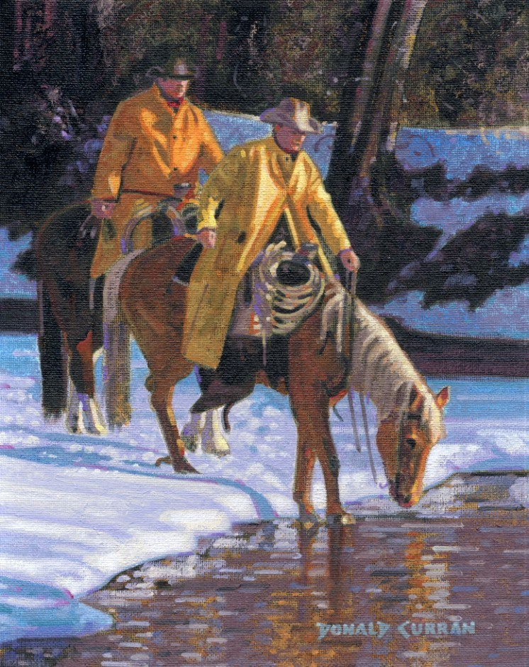 """Cowboys Winter Crossing"" original fine art by Donald Curran"