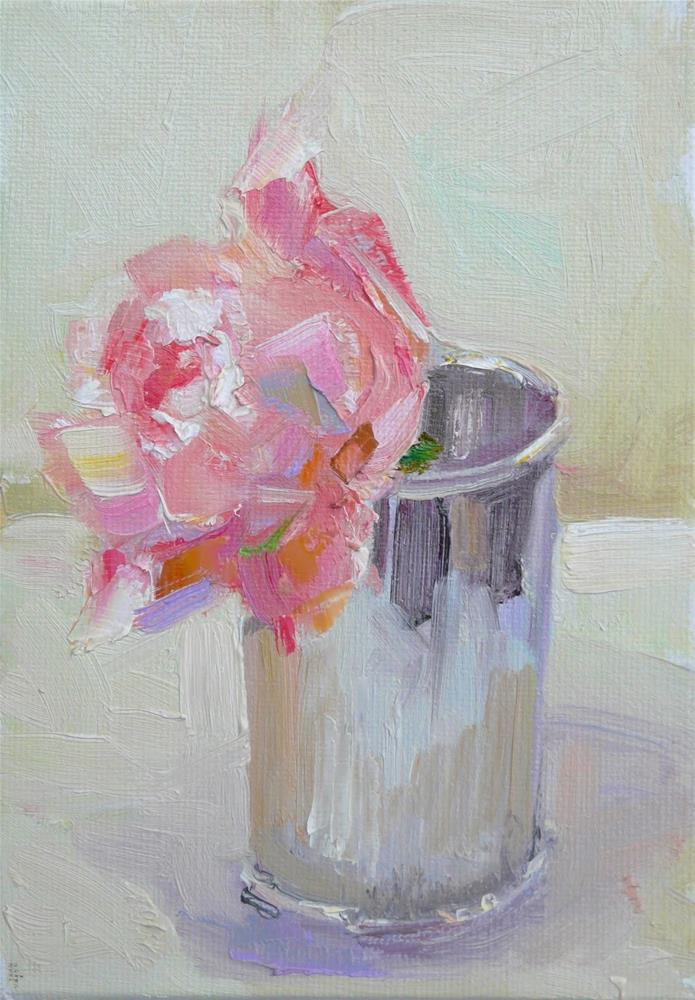 """Weeping Rose in Julip Cup,still life,oil on canvas,7x5,price$150"" original fine art by Joy Olney"