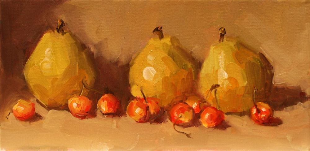 """pears and raniers"" original fine art by Carol Carmichael"