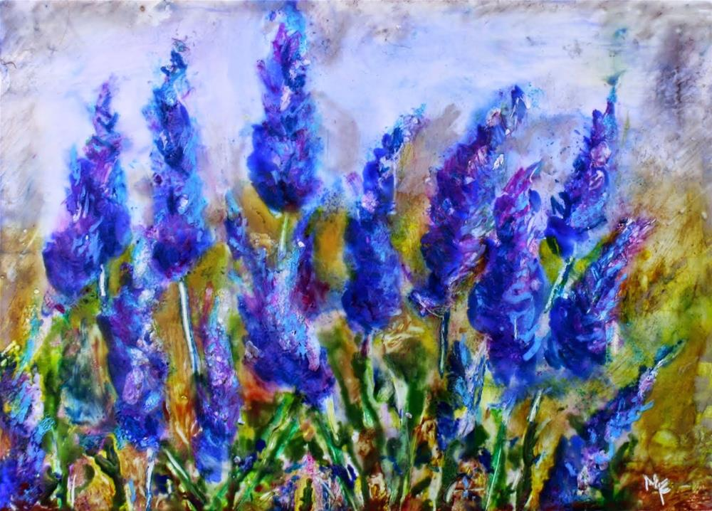 """Lavender in Encaustic"" original fine art by Maggie Flatley"