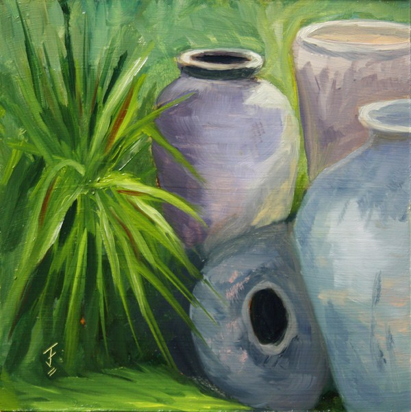 """Pot Quartet"" original fine art by Jane Frederick"