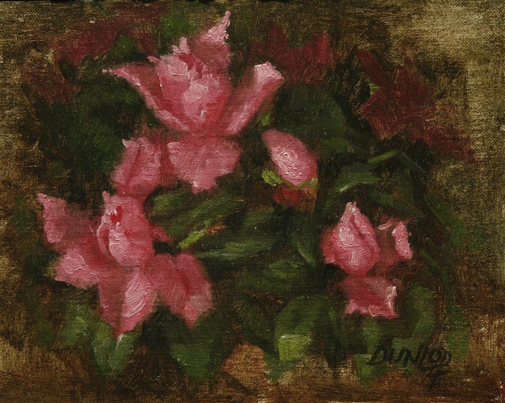 """""""Pink Azaleas"""" original fine art by Bobbi Dunlop"""