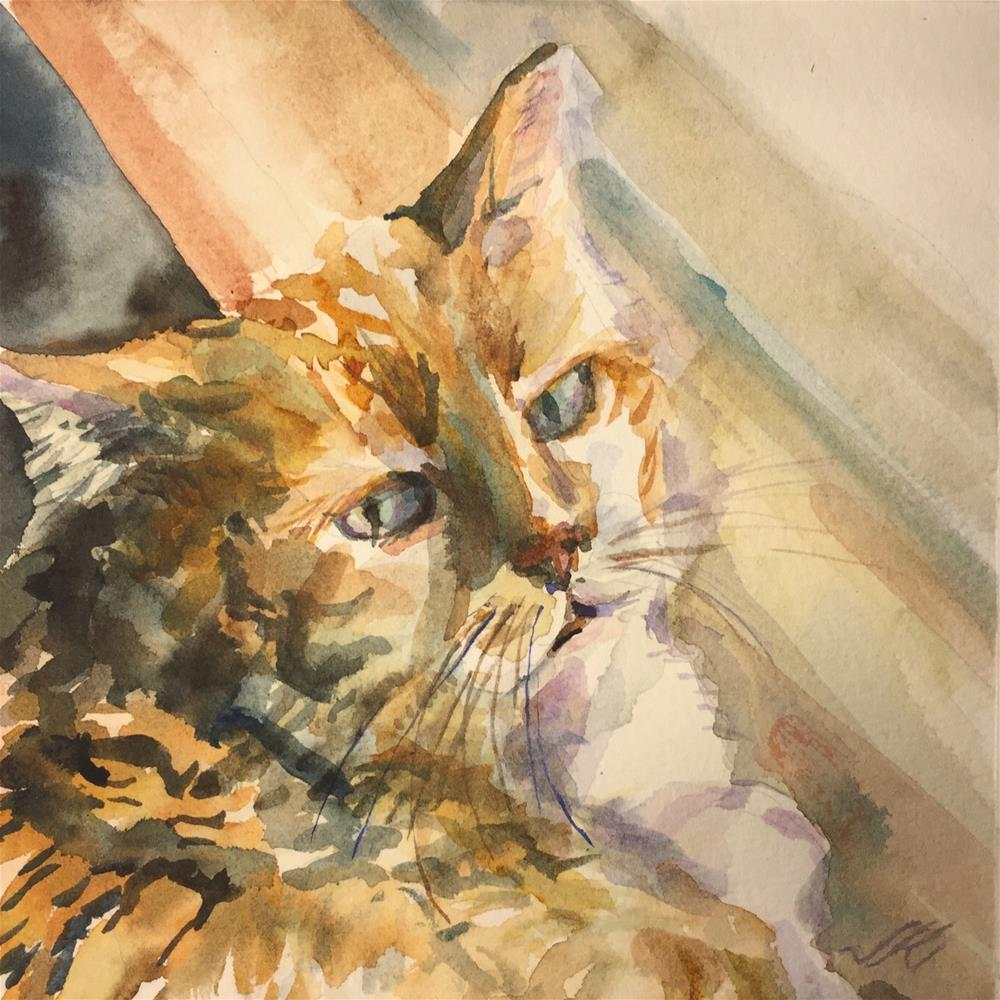 """Sparky, Shopcat"" original fine art by Jean Krueger"