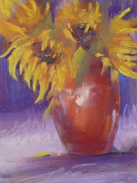 """How to Use a Thumbnail Effectively...Sunflowers"" original fine art by Karen Margulis"